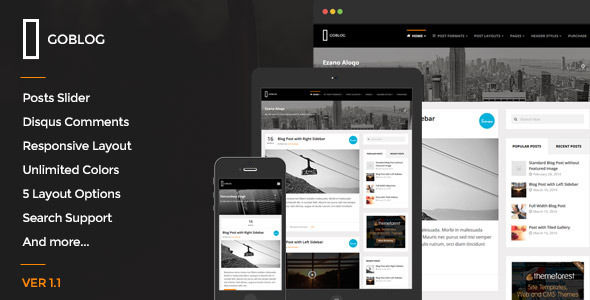 GoBlog by BloomPixel is a Ghost theme which features Retina display support, support for RTL languages, fully responsive layouts, clean design and  is great for your personal site.