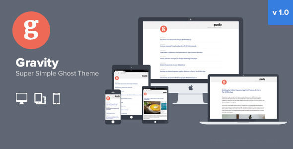 Gravity by PresslyThemes is a Ghost theme which features fully responsive layouts, Google Fonts support, clean design and  blogging related layouts and optimizations.