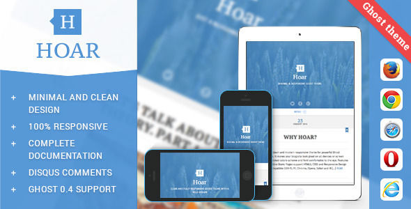 Hoar by Lodossteam is a Ghost theme which features support for RTL languages, fully responsive layouts, Google Fonts support, clean design, is great for your personal site and  blogging related layouts and optimizations.