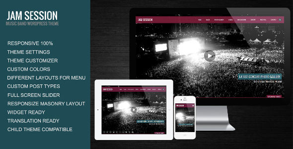 JamSession by SmartWPress is a WordPress theme for bands which features support for RTL languages, fully responsive layouts, search engine optimization, Revolution Slider, WooCommerce integration and masonry post layouts.