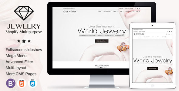 Jewelry Responsive Shopify Theme by Tvlgiao is a Shopify theme which features parallax elements, support for RTL languages, Mega Menu, fully responsive layouts, Google Fonts support, WooCommerce integration, Bootstrap framework utilization and  minimal design.