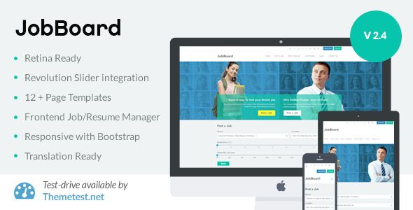 JobBoard by Minimalthemes is a job listing WordPress theme which features Retina display support, support for RTL languages, one page layouts, fully responsive layouts, search engine optimization, Google Fonts support, WooCommerce integration, clean design, Bootstrap framework utilization, is great for your personal site, flat design aesthetics and minimal design.