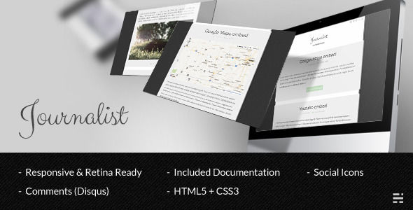 Journalist Ghost Theme by Mpc is a Ghost theme which features Retina display support, fully responsive layouts, clean design, is great for your personal site, blogging related layouts and optimizations, flat design aesthetics and  minimal design.