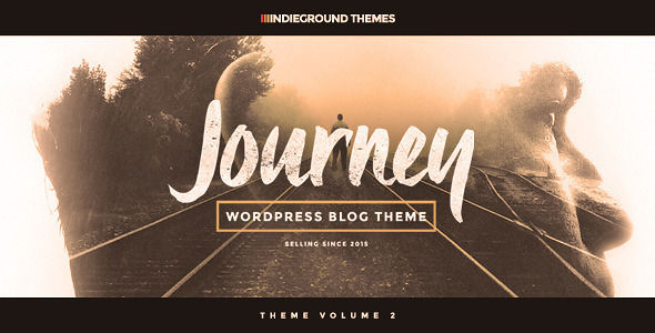 Journey by Indieground is a WordPress theme which features Retina display support, parallax elements, fully responsive layouts, search engine optimization, clean design, Bootstrap framework utilization, is great for your personal site, a grid layout and minimal design.