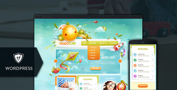 KiddoTurf by ThemeFuse is a kids store WordPress theme which features Retina display support, fully responsive layouts, search engine optimization and Colorful.