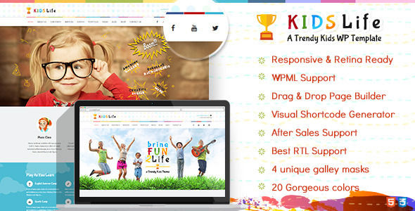 Kids Life by Designthemes is a kids store WordPress theme which features Retina display support, parallax elements, support for RTL languages, Mega Menu, fully responsive layouts, search engine optimization, Google Fonts support, Revolution Slider, WooCommerce integration, clean design, can be used for your portfolio and Colorful.