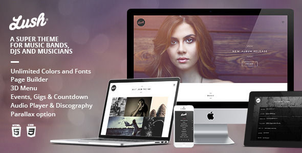 Lush by IronTemplates is a WordPress music theme which features parallax elements, support for RTL languages, one page layouts, fully responsive layouts, Revolution Slider, WooCommerce integration, clean design and a grid layout.