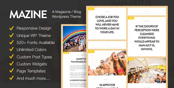 Mazine by ReyMarval is a news magazine WordPress theme with video support which features Retina display support, fully responsive layouts, search engine optimization, Google Fonts support, clean design and magazine style layouts.