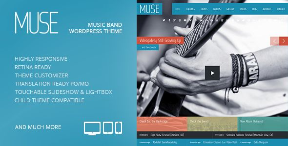 Muse by GrandPixels is a WordPress theme for bands which features Retina display support, support for RTL languages, fully responsive layouts, search engine optimization, Google Fonts support, WooCommerce integration, blogging related layouts and optimizations and a grid layout.
