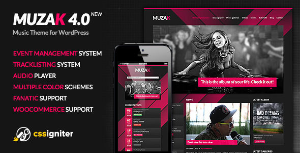 Muzak by Cssignitervip is a WordPress music theme which features support for RTL languages, fully responsive layouts, WooCommerce integration, Bootstrap framework utilization, support for photo galleries and masonry post layouts.