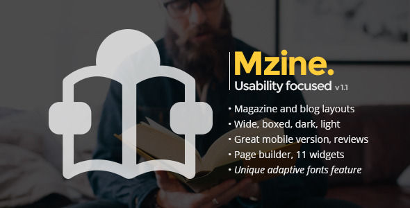 Mzine by WegoDesign is a news magazine WordPress theme with video support which features Retina display support, Mega Menu, fully responsive layouts, search engine optimization, Google Fonts support, Revolution Slider, clean design, Bootstrap framework utilization, magazine style layouts, a grid layout and minimal design.