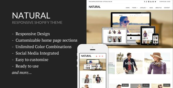 Natural by Sdjentertainment is a Shopify theme which features support for RTL languages, fully responsive layouts, search engine optimization, Google Fonts support, clean design and  minimal design.