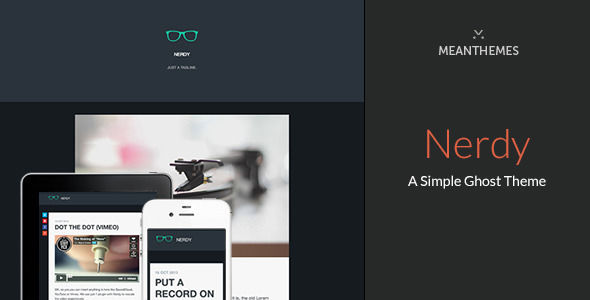 Nerdy by Meanthemes is a Ghost theme which features fully responsive layouts, clean design, can be used for your portfolio, is great for your personal site and  flat design aesthetics.