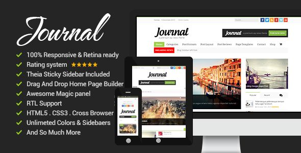 News Journal by Bdayh is a news magazine WordPress theme with video support which features Retina display support, support for RTL languages, fully responsive layouts, search engine optimization, Google Fonts support, WooCommerce integration, clean design, can be used for your portfolio, magazine style layouts, a grid layout and minimal design.