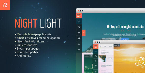 NightLight by 7immer is a Ghost theme which features support for RTL languages, fully responsive layouts, Google Fonts support, clean design, is great for your personal site, blogging related layouts and optimizations and  flat design aesthetics.