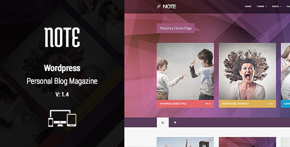 Nillnote by NillTheme is a music WordPress theme with Shoutcast support which features Retina display support, support for RTL languages, fully responsive layouts, Revolution Slider, WooCommerce integration, Bootstrap framework utilization, magazine style layouts, flat design aesthetics and masonry post layouts.