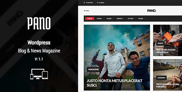 Nillpano by NillTheme is a news magazine WordPress theme with video support which features Retina display support, support for RTL languages, fully responsive layouts, Revolution Slider, WooCommerce integration, clean design, Bootstrap framework utilization, can be used for your portfolio, magazine style layouts, flat design aesthetics and a grid layout.