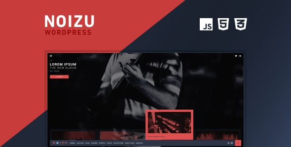 Noizu Wp by Mountainthemes is a WordPress theme for bands which features Retina display support, fully responsive layouts, search engine optimization, Google Fonts support, Revolution Slider, clean design, bold design elements, a grid layout and minimal design.