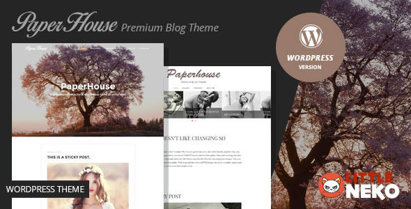 Paperhouse by Little-Neko is a WordPress theme which features Retina display support, parallax elements, support for RTL languages, fully responsive layouts, Google Fonts support, clean design, Bootstrap framework utilization, is great for your personal site and a grid layout.