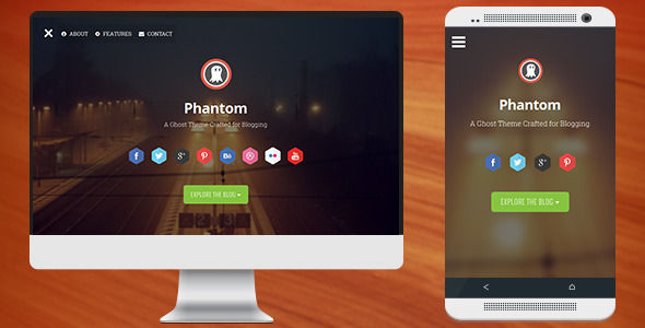 Phantom by Codetic is a Ghost theme which features parallax elements, fully responsive layouts, clean design and  blogging related layouts and optimizations.