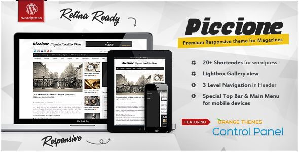 Piccione by Orange-themes is a news magazine WordPress theme with video support which features Retina display support, fully responsive layouts, Google Fonts support, clean design, can be used for your portfolio, magazine style layouts and blogging related layouts and optimizations.