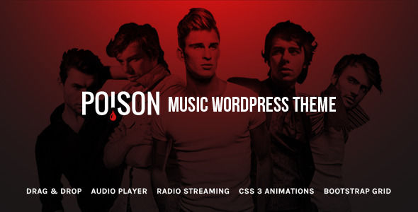 Poison by Theme-Squared is a WordPress theme for bands which features parallax elements, support for RTL languages, one page layouts, fully responsive layouts, search engine optimization, Google Fonts support, Revolution Slider, clean design and Bootstrap framework utilization.