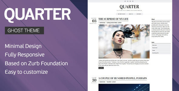 Quarter by Audemedia is a Ghost theme which features support for RTL languages, fully responsive layouts, Google Fonts support, blogging related layouts and optimizations and  minimal design.