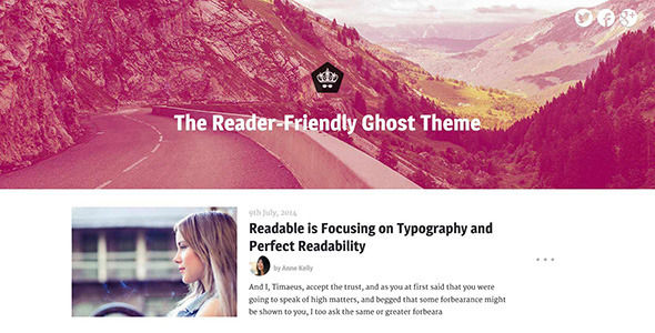 Readable by Snail_n_Vogel is a Ghost theme which features fully responsive layouts and  a grid layout.