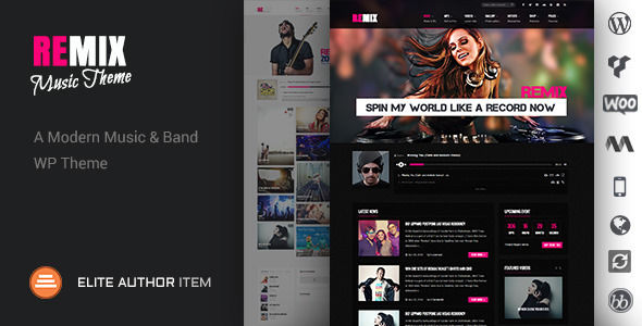 Remix by Codevz is a WordPress music theme which features Retina display support, support for RTL languages, one page layouts, fully responsive layouts, search engine optimization, Google Fonts support, Revolution Slider, WooCommerce integration, magazine style layouts, masonry post layouts and a grid layout.