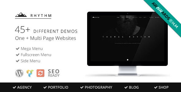 Rhythm by JoiThemes is a WordPress theme which features Retina display support, parallax elements, one page layouts, fully responsive layouts, search engine optimization, Revolution Slider, WooCommerce integration, Bootstrap framework utilization, support for photo galleries, can be used for your portfolio, magazine style layouts, a grid layout and minimal design.