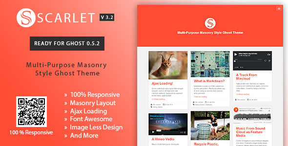 Scarlet by GBJsolution is a Ghost theme which features Retina display support, fully responsive layouts, clean design, Bootstrap framework utilization, is great for your personal site, blogging related layouts and optimizations, flat design aesthetics, masonry post layouts and  minimal design.