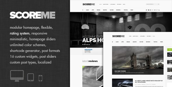 Scoreme by Dannci is a news magazine WordPress theme with video support which features parallax elements, fully responsive layouts, Google Fonts support, clean design, magazine style layouts, is great for your personal site and minimal design.