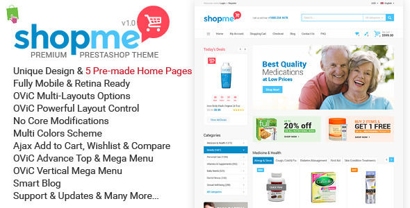 ShopMe by Kutethemes is a ecommerce theme for gaming stores which features support for RTL languages, Mega Menu, one page layouts, fully responsive layouts, Google Fonts support, clean design, Bootstrap framework utilization, flat design aesthetics and a grid layout.
