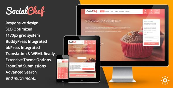 SocialChef by Themeenergy is a niche WordPress theme with frontend submission functionality which features support for RTL languages, fully responsive layouts, search engine optimization, WooCommerce integration and clean design.