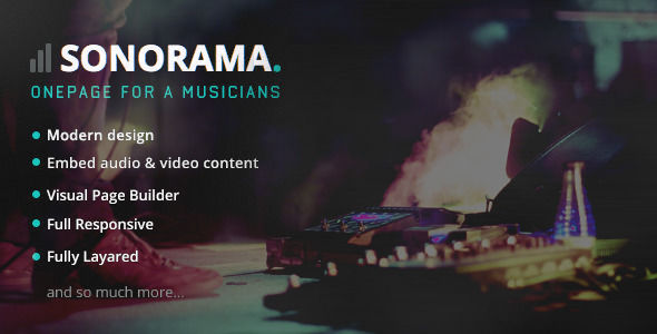 Sonorama by Jellythemes is a WordPress theme for bands which features Retina display support, parallax elements, one page layouts, fully responsive layouts, Revolution Slider and clean design.