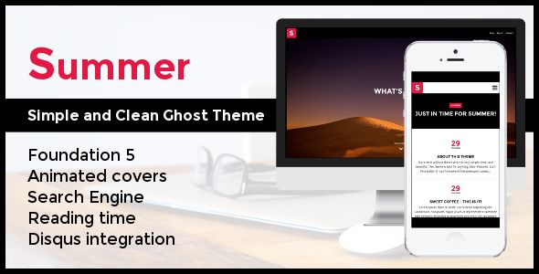 Summer by PxThemes is a Ghost theme which features fully responsive layouts, search engine optimization, Google Fonts support, clean design and  blogging related layouts and optimizations.