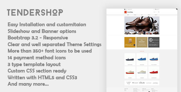 Tendershop by Ninetheme is a Shopify theme which features Retina display support, support for RTL languages, fully responsive layouts, search engine optimization, Google Fonts support, clean design, Bootstrap framework utilization and  minimal design.