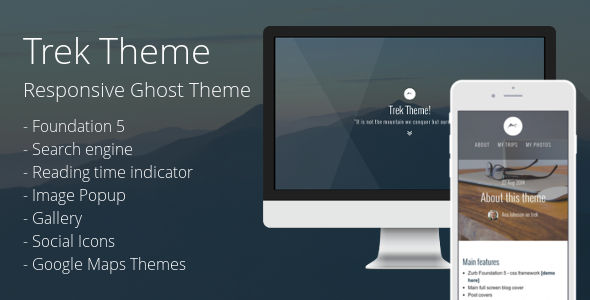 Trek by PxThemes is a Ghost theme which features fully responsive layouts, search engine optimization, Google Fonts support and  clean design.