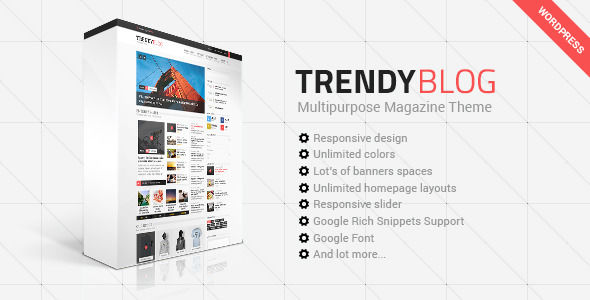 TrendyBlog by Different-themes is a news magazine WordPress theme with video support which features Retina display support, support for RTL languages, Mega Menu, one page layouts, fully responsive layouts, search engine optimization, Google Fonts support, Revolution Slider, WooCommerce integration, clean design, magazine style layouts and a grid layout.