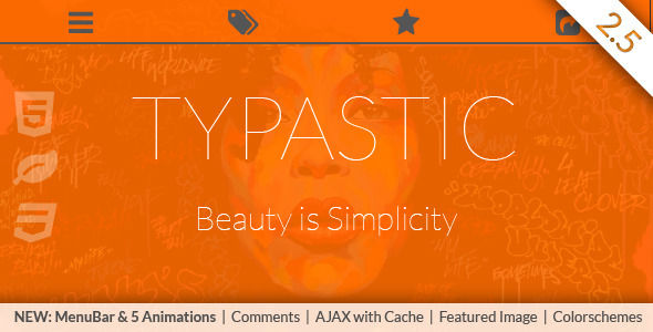 Typastic  by DBod is a Ghost theme which features Retina display support, parallax elements, fully responsive layouts, search engine optimization, clean design, Bootstrap framework utilization, bold design elements and  flat design aesthetics.