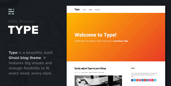 Type by QBKL is a Ghost theme which features fully responsive layouts, search engine optimization, clean design, Bootstrap framework utilization, bold design elements, a grid layout and  minimal design.