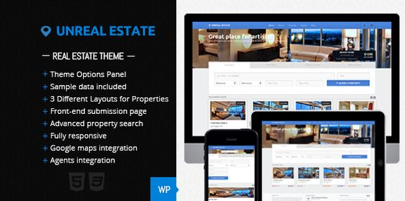 Unreal Estate by FinalDestiny is a niche WordPress theme with frontend submission functionality which features fully responsive layouts, search engine optimization, clean design, Bootstrap framework utilization, corporate style visuals and a grid layout.