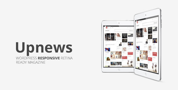 Upnews by Mimo is a news magazine WordPress theme with video support which features Retina display support, support for RTL languages, fully responsive layouts, Google Fonts support, Revolution Slider, clean design, Bootstrap framework utilization, magazine style layouts, a grid layout and minimal design.