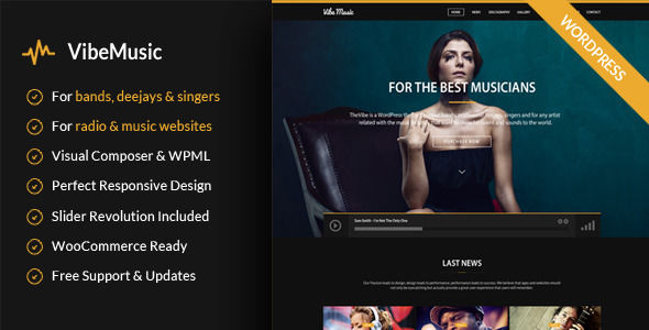 VibeMusic by ElephantThemes is a WordPress music theme which features fully responsive layouts, WooCommerce integration and Bootstrap framework utilization.