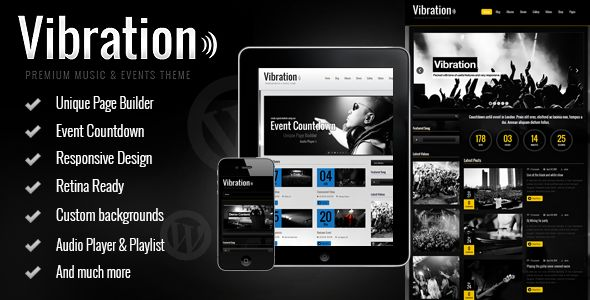 Vibration by Skyali is a WordPress theme for bands which features Retina display support, support for RTL languages, fully responsive layouts, Google Fonts support, Revolution Slider, WooCommerce integration and clean design.