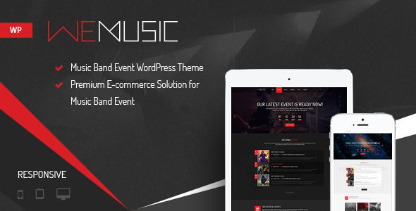 WeMusic by NooTheme is a WordPress music theme which features Retina display support, parallax elements, fully responsive layouts, Google Fonts support, Revolution Slider, WooCommerce integration, masonry post layouts and a grid layout.