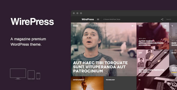 WirePress by EugeneO is a news magazine WordPress theme with video support which features Retina display support, support for RTL languages, fully responsive layouts, magazine style layouts, flat design aesthetics and a grid layout.
