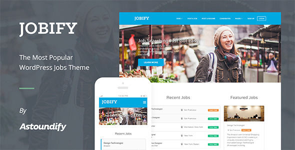 WordPress Job Board Theme by Astoundify is a job listing WordPress theme which features Retina display support, support for RTL languages, fully responsive layouts, search engine optimization, WooCommerce integration, clean design, Bootstrap framework utilization and a grid layout.