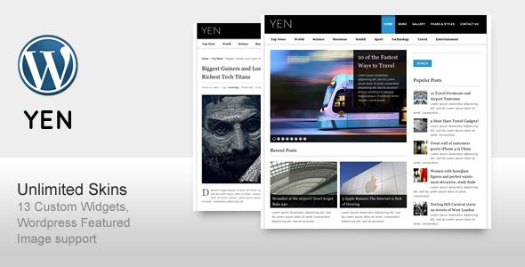 YEN by ThemeGoods is a news magazine WordPress theme with video support which features support for RTL languages, clean design, magazine style layouts and is great for your personal site.
