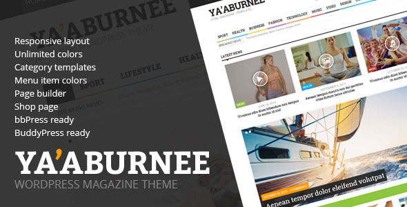 Ya by Different-themes is a news magazine WordPress theme with video support which features Retina display support, fully responsive layouts, Google Fonts support, WooCommerce integration, can be used for your portfolio, magazine style layouts, a grid layout and minimal design.
